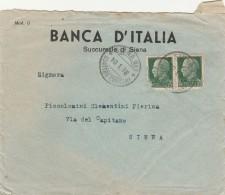 LETTERA 1938 CON 2X25 CENT (NON PERFETTI) TIMBRO SIENA QUATTRO CANTONI (Z2413 - Storia Postale