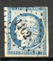 FRANCE - 1849-50 - Type Cérès - N° 4 - 25 C. Bleu (Oblitération Losange Petits Chiffres) - 1849-1850 Ceres