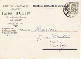 CP Publicitaire HANNUT 1947 - Jules HUBIN - Papeterie - Imprimerie - Librairie - Hannut