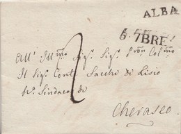 PRE243 - 5 Settembre 1828  - Lettera Con Testo Da Alba A Cherasco , Tassata 2 Soldi Sardi . - ...-1850 Voorfilatelie
