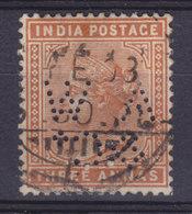 British India Perfin Perforé Lochung 'A W & Co' 3 Annas Victoria Stamp (2 Scans) - 1882-1901 Impero