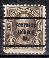 USA Precancel Vorausentwertung Preo, Bureau Virginia, Fortress Monroe 653-63 - Vereinigte Staaten