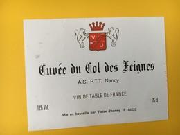 8897 - Cuvée Du Col Des Feignes A,S. PTT Nancy Vin De Table - Etiquettes