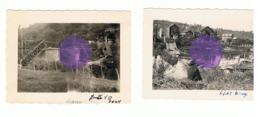 HONY - Juillet 1940  - Pont , Chemin De Fer,...- Guerre 40/45 - 2 Photos (+/- 6 X 9 Cm ) (b187) - Luoghi