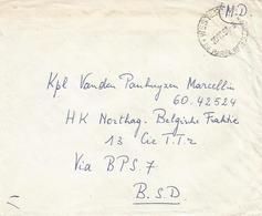 Belgie Belgique 1961 Westerlo To Bureaux Postales Secondaires BSP7 Weiden Military Unfranked Cover - Postmark Collection