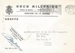 Belgie Belgique 1962 Cour Militaire To Bureaux Postales Secondaires BSP7 Weiden Military Unfranked Official Cover - Postmark Collection