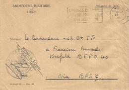 Belgie Belgique 1961 Auditorat Militaire To Bureaux Postales Secondaires BSP7 Weiden Military Unfranked Official Cover - Esercito