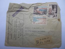 The AMERICAN EXPRESS COMPANY Inc. Lettre Recommandée Le Havre Principal 1954 - Banca & Assicurazione
