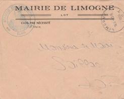 MAIRIE DE LIMOGNE LOT LETTRE EN FP 1956 POUR MR LE MAIRE SAILLAC - Marcofilia (sobres)