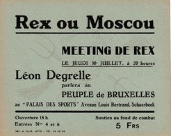 DEGRELLE Léon - Carton Du Meeting Du 30 Juillet Au Palais Des Sports De Bruxelles-Schaerbeek - Carton D'époque 1940-45 - Historical Documents