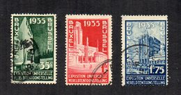 Belgio - 1935 - World Expo Bruxelles - 3 Valori - Usati - Linguellati - (FDC12045) - 1935 – Brussels (Belgium)