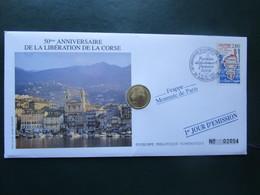 """ENVELOPPE Et PIECE - Timbre - Philatélique Numismatique """"1 JOUR D'EMISSION"""" 1993 - 50 Anniversaire De La LA CORSE - Monnaie De Paris"""