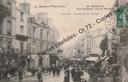 CPA [50] Manche > Saint Lo - Rue Terteron (Torteron), Vue Du Grouais - Belle Animation - Saint Lo