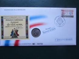 """ENVELOPPE Et PIECE - Philatélique Numismatique """"1 JOUR D'EMISSION 1992 - REPUBLIQUE FRANCAIS AN 1 - Monnaie De Paris"""