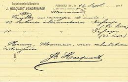 CP Publicitaire PERWEZ 1913 - J. HACQUART-VANDERBISSE - Imprimerie - Librairie - Perwez