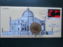 """ENVELOPPE Et PIECE - Philatélique Numismatique """"1 JOUR D'EMISSION 1992 - SERIE ITALIE - A. BURRI - Monnaie De Paris"""