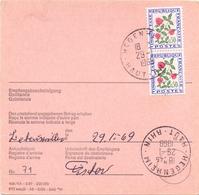 France Mandat Poste International  De Hegenheim Haut Rhin Alsace  Pour La Suisse Luzern Timbre Taxe Fleurs Tres Rare - Postmark Collection (Covers)