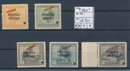BELGIAN CONGO  RUANDA URUNDI  1924 ISSUE FILE COPIES FIVE VALUES ARE KNOWN MNH - Ruanda-Urundi