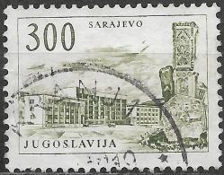 YUGOSLAVIA 1958  Sarajevo Railway Station And Obelisk - 300d - Green FU - 1945-1992 Socialist Federal Republic Of Yugoslavia