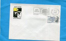 Marcophlie-Réunion-enveloppe-Illustrée-Blason St André-cad-+flamme -patrimoine1980-stamps-N°2092-Françe  Patrimoine - Storia Postale