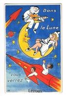 LEZOUX (63) Carte à Système Dépliant Fusée Lune Pierrot - Lezoux