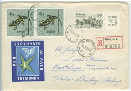Pologne 1966 Lettre Voyagé Avec Vignette Esperanto Poland Postally Used Cover W/ Esperanto Cinderella - Esperanto