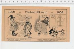 2 Scans Humour Maire écharpe Tricolore Garde-champêtre / Soufflet De Cheminée Souffler N'est Pas Jouer Chien PF223A - Old Paper