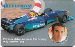 Malaysia - Telekom Malaysia - Petronas Grand Prix, Pedro Diniz - Chip 10RM, (Batch CP), Used - Malaysia