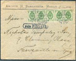 1905 Finland Borgstrom, Hango Cover - Newcastle On Tyne Via Stockholm. 'Fran Finland' Paquebot - 1856-1917 Russian Government