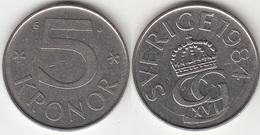 SVEZIA 5 Kronor 1984 KM 853a - Used - Svezia