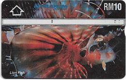 Malaysia (Kadfon) - Lion Fish - L&G - 504A - 1995, 10RM, 100.000ex, Used - Malaysia