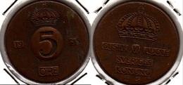 SVEZIA 5 Öre 1953 KM#822 - Used - Svezia
