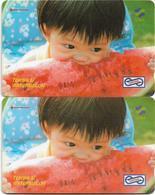 Malaysia (Uniphonekad) - Watermelon, 26MSAB, 1992, (2 Serial Length Variants), Both Used - Malaysia