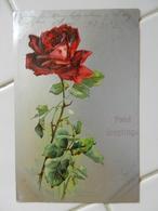 CPA   Gauffrée  ROSE Rouge  Fond Argenté   Précurseur - Flowers