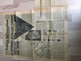 Constitution De 1958 Et Journal - Old Paper