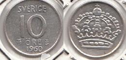 SVEZIA 10 Öre 1960 SILVER KM#823 - Used - Svezia