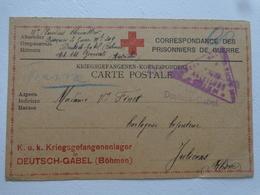 MILITARIA  GUERRE 14/18 LETTRE DU CAMP DE PRISONNIER DEUTSCH GABEL BOHMEN  KRIEGSGEFANGENEN CROIX ROUGE - Old Paper
