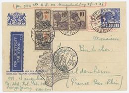 Entier Inde Néerlandaise Soengen Gerong Cachet Palemberg Vol KLM 27.11.1932 + Cachet Amsterdam Centraalstation - Nederlands-Indië
