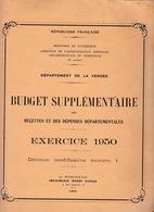 Rare ! Département De La Vendée, Budget Supplémentaire Des Recettes Et Dépenses Départementales, Exercice 1950 - Decrees & Laws