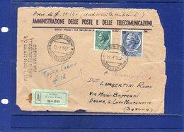 ##(DAN189)-1957 - FRONTESPIZIO Di Busta Assicurata, Annullatore Ed Annullo Lineare Roma Centro-Francobolli Collezione - 1946-60: Storia Postale