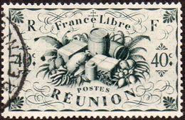 Réunion Obl. N° 237 - Détail De La Série De LONDRES - Productions - 40 Cts Gris-vert - Réunion (1852-1975)