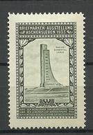 Deutschland Briefmarken-Ausstellung Aschersleben 1933 Marine Ehrendenkmal Alte Vignette Poster Stamp * - Erinnophilie