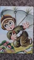 CPSM ENFANT AUX YEUX QUI BOUGENT FAISANT DU PARACHUTE PARACHUTISME SIGNEE - Dessins D'enfants