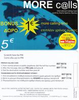 GREECE - More Calls Prepaid Card 5 Euro(807 8016 - 807 1116), Exp.date 31/12/12, Sample - Greece