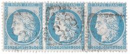 TIMBRES N°60/1 ; BANDE DE TROIS  126/127/128 G3 ; N° 128 DIFFICILE À TROUVER; GC 338 (BASTIA)TTB - 1871-1875 Cérès