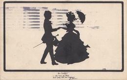 """Scherenschnittmotiv BIEDERMEIER PAAR, Künstlerkarte """"An Lottchen"""" - Karte Gel.1919, 10 Heller Frankierung,Stempelflecken - Scherenschnitt - Silhouette"""