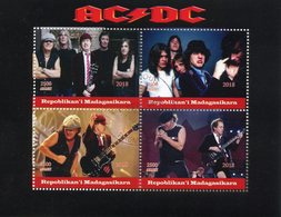 Madagascar 2018 CTO AC/DC ACDC Rock Band 4v M/S Guitars Musical Instruments Music Celebrities Stamps - Musique