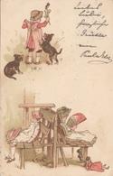 Alte KÜNSTLERKARTE - Mädchen, Hunde, Bub - Künstlerkarten