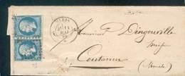 FRANCE  LETTRE PAIRE TYPE NAPOLEON III TB PARIS 11 MAI 1860 POUR COUTANCES - 1853-1860 Napoléon III