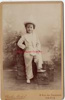 Grand CDV-(CAB) Portrait D'un Enfant Très Souriant-photo Charles Mockel Faubourg Saint Honoré à Paris - Photos
